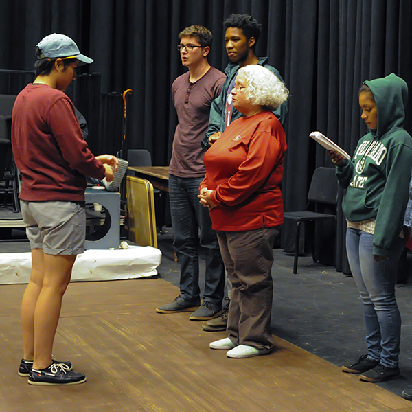 """Cast members rehearsing for upcoming school production """"Our Town"""" at the Palomar studio Theatre on sept. 22. Idmantzi Torres/ The Telescope."""