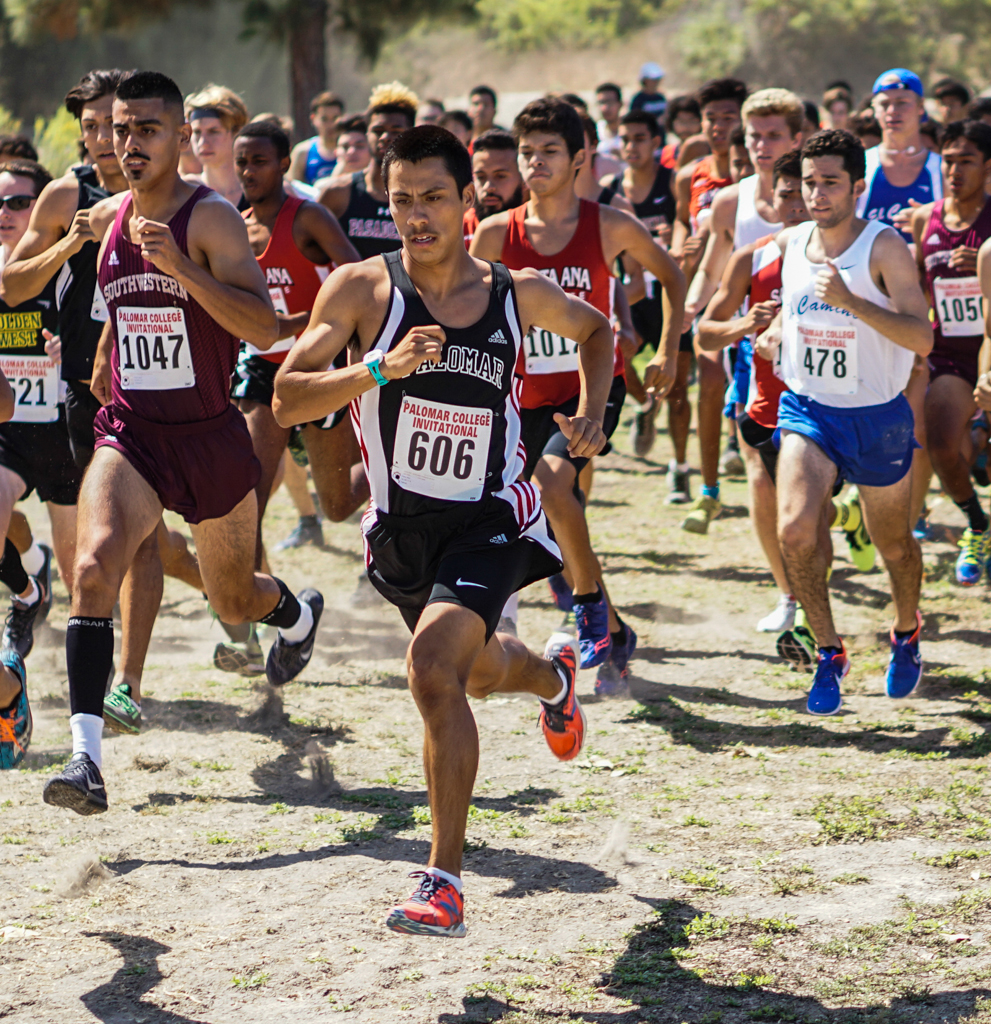 Palomar Freshman Mark Ybarra (606) leads the pack at the start of the Palomar College Cross Country Invitational held at Guajome Park in Oceanside CA on Sept 09. Ybarra finished third in the race with a time of 20:53. Philip Farry / The Telescope