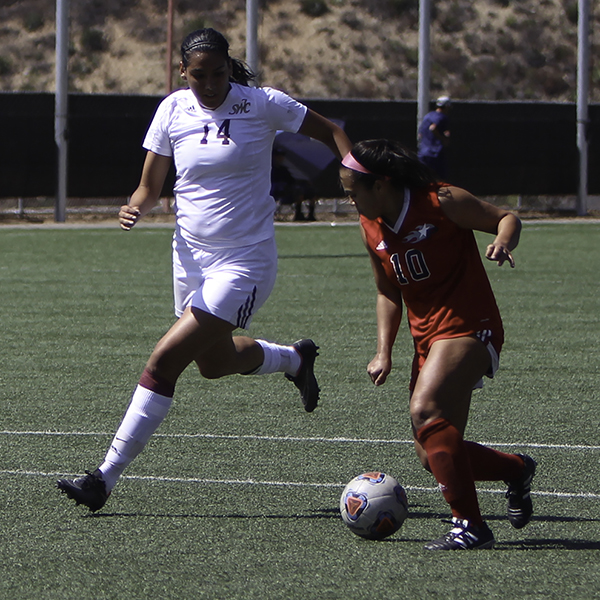 Palomar's Adrianna Gutierrez (Number 10) on her way to score the last goal of the game agaisnt Southwestern on Sept. 16. -Kayla Rambo/The Telescope