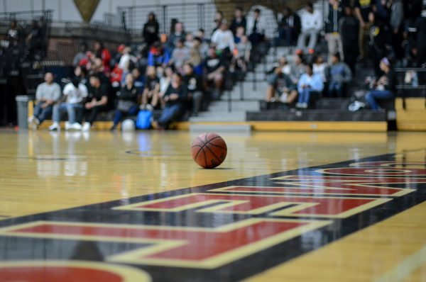 Palomar College mens basketball sits on an empty court between quarters against the San Diego City College Knights Feb. 5 at the Dome./Tracy Grassel