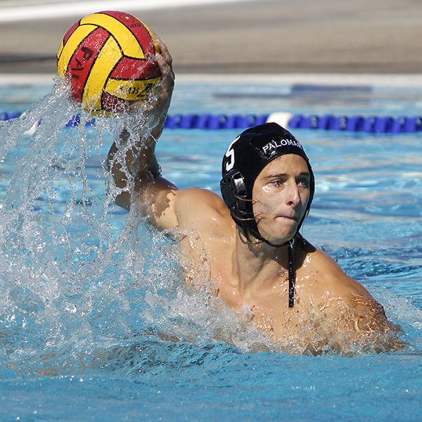 Palomar's Paul Schaner (5) shoots goal 3 for the Comets during the Men's Water Polo PCAC Conference Championship Game between Palomar and Grossmont on Nov. 5 at the Ned Baumer Pool. Schaner tallied 1 goal and Palomar won the title with a score of 10-9. Coleen Burnham/The Telescope