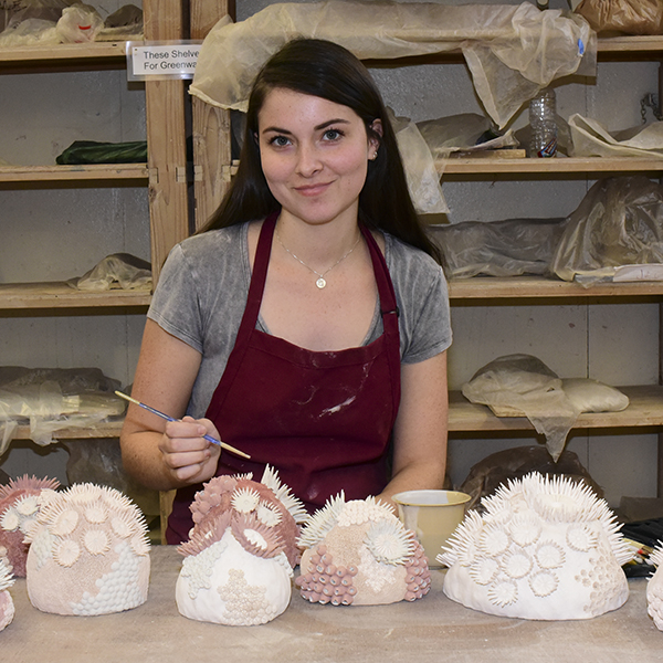 Palomar student Anayna Wenzlick loves clay shaping as she crafts a Sea Anemone. This is her fourth semester at Palomar she loves the positive attitude of the students and teachers at the campus. Nov 7. Johnny Jones/The telescope