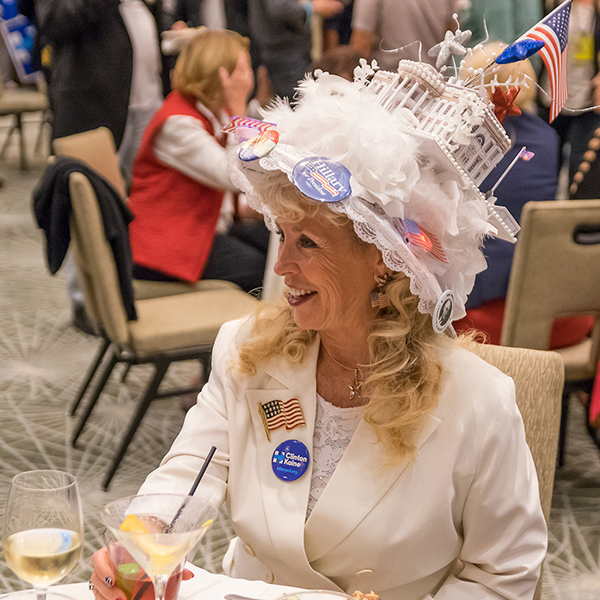 A Hillary Clinton supporter enjoys a few drinks at the Democratic Party election watch party at the San Diego Westin Hotel on Nov. 8th. Joe Dusel/ The Telescope.