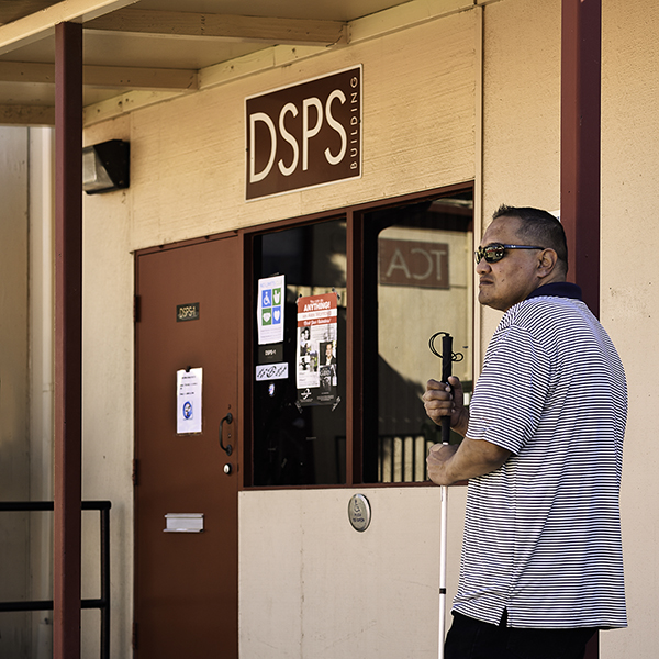 Jay Castro hangs at the DSPS building at Palomar College on Friday, Nov. 4.