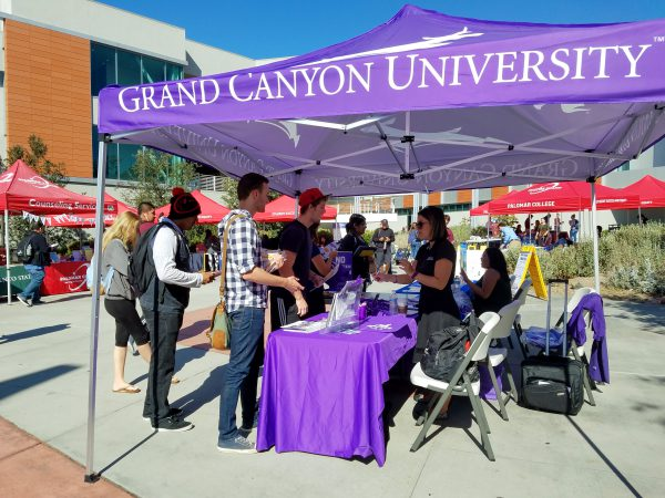 Michelle Muniz, Grand Canyon University transfer specialist, helps Trent Chavez Matzel, 1st year Business Management, and Jon Miller, 2nd semsester Business major, as she manages the booth at the annual Palomar College Fair. GCU was one of many schools that attended this event. Zachary Maxwell/The Telescope