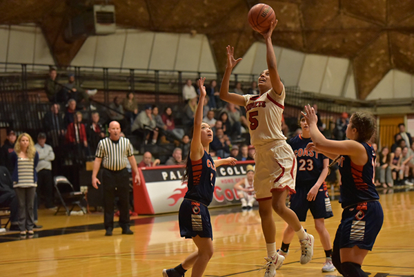 Palomar's Monika Todd (5) scored a total of 8 points in 80 to 77 win against the Orange Coast Pirates in the second round of the CCCAA Tournament. Melissa Grant/The Telescope