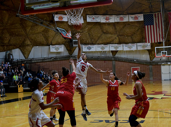 Palomar Guard Monica Todd (5) scored 26 points, including 9 rebounds as the comets defeating College of the Desert Roadrunners 95 to 26 at the dome Feb. 15. Johnny Jones/The Telescope