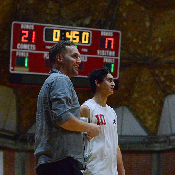 Palomar's new Head Coach Bryan Campbell talks to Middle Blocker Adam Soberon (10) during a quick break in the 3rd set vs. Miramar College Jets on Feb. 4 at the Dome. Palomar was defeated 3-2. Tracy Grassel/The Telescope