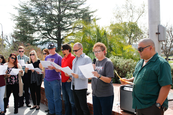 Palomar College Instructors reciting the Anti-Authoritarian Academic Code of Conduct on February 16. Kimberly Barber/The Telescope