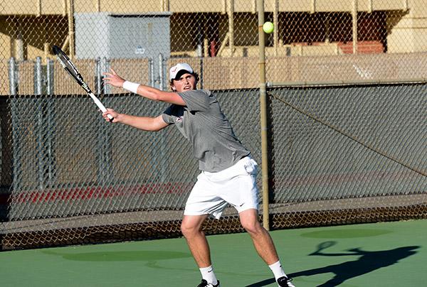 Palomar's tennis player Peter Trhac return serve during tennis match. Johnny Jones /The Telescope