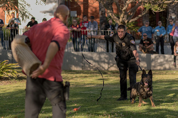 Escondido Police Officer Ryan Banks, leads a K-9 demonstration at the first Annual Public Safety Community Outreach April 5 at Palomar College. Melissa Grant/The Telescope