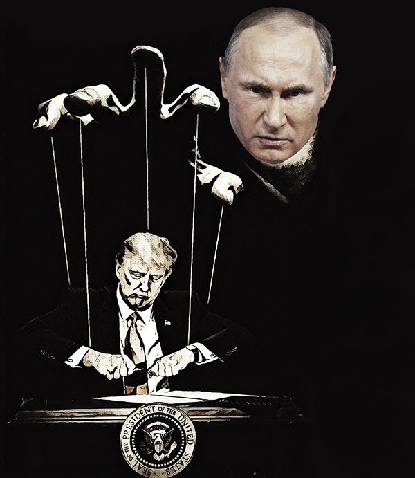 Illustration of putin stringing America out to dry. Johnny Jones/The Telescope