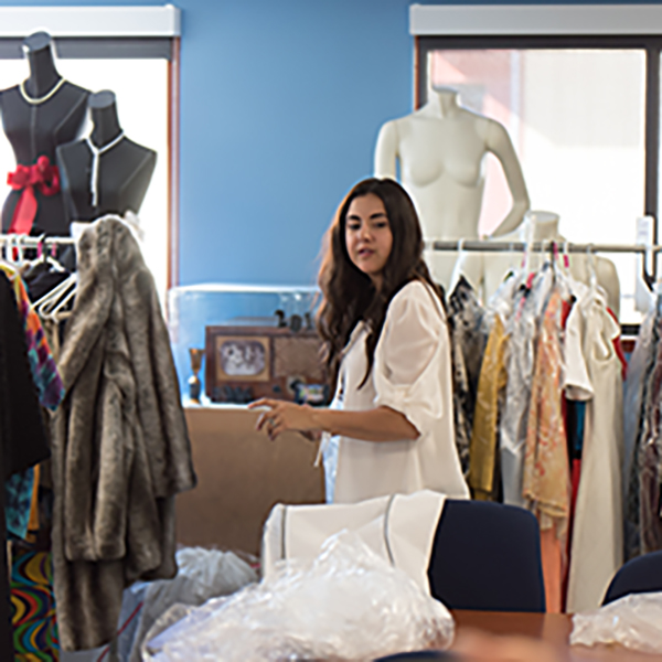 Palomar Fashion Designer Genevieve Leonard spends her days preparing mannequins, managing photo-shoots, styling models all the while working on her own designs for the upcoming Palomar MODA Fashion show on May 4. Johnny Jones/The Telescope