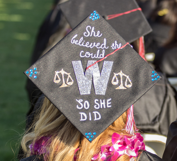 Many of the graduating students decorate their caps at the commencement ceremony at Palomar College in San Marcos, Calif. on May 26, 2017. Joe Dusel / The Telescope
