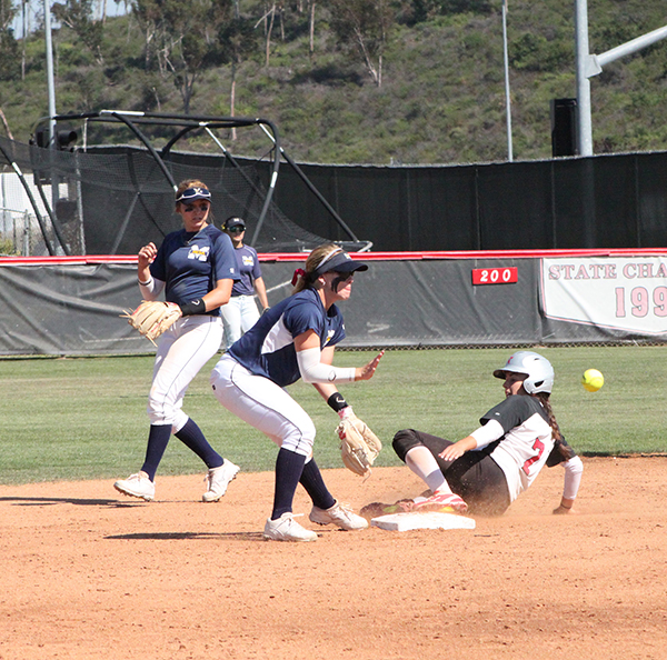 Palomar second base Bailey Romano (#7) with a steal and slide to second in the second inning of the April 21 game vs. San Diego Mesa. Palomar won 8-0.