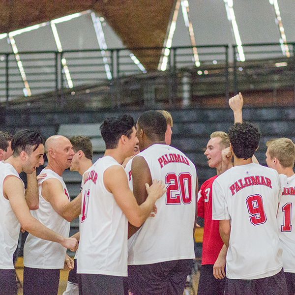 The Men's Volleyball team at Palomar College getting ready to play against Moorpark College on March 29. Kimberly Barber/The Telescope