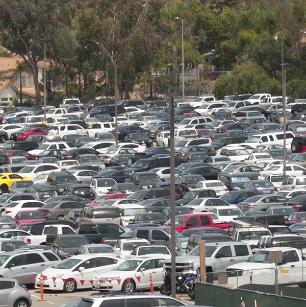 Parking Lot 12 at Palomar College being almost over filled with student driver on April 27