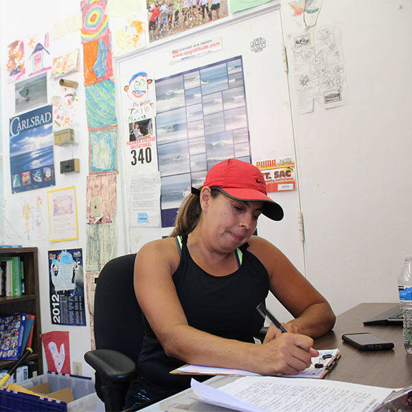 Coach Sonia Rodriguez works in her office on Sept. 6. Justin Gonzalez/ The Telscope.