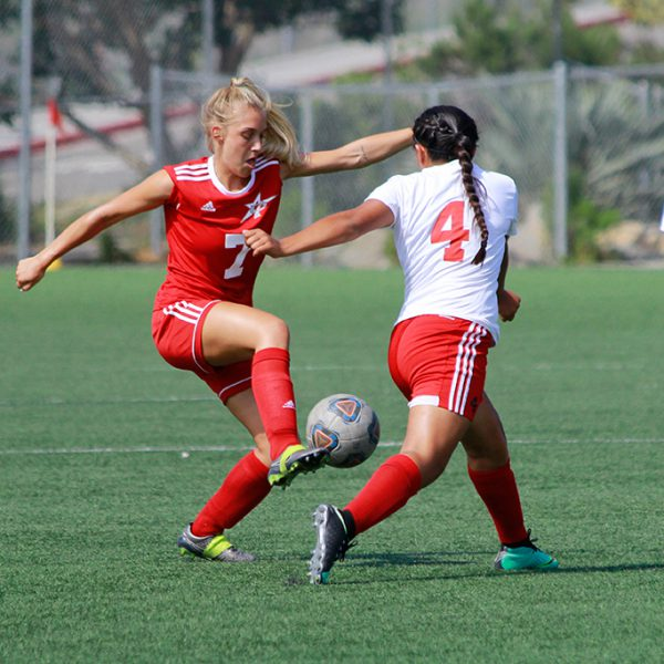 Palomar's Michelle Skupnjak steals the ball from Santa Ana's Briana Ceballos. The Comets met Santa Ana on Friday, Sept. 1 at Minkoff Field. The final score was 2-1, in favor of Santa Ana. Alexis Szedlacsek / The Telescope