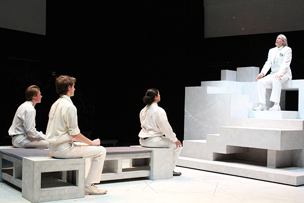 Palomar College is putting on the play Brave New World. Photo from dress rehearsals in the studio theater on Sept.26. Iray Gomez/The Telescope