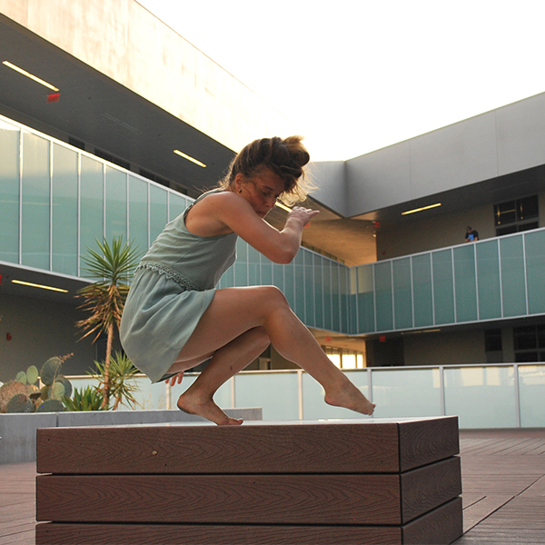 Palomar student Oxsana Gorban dances in the MD building courtyard. Taylor Salvesvold/ The Telescope