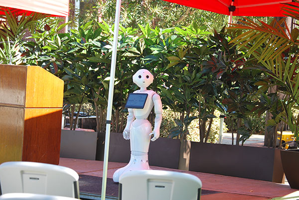 Pepper stands on stage minutes before being presented to Palomar community. SU,Quad, Clocktower. Oct. 10. Linus Smith / The Telescope