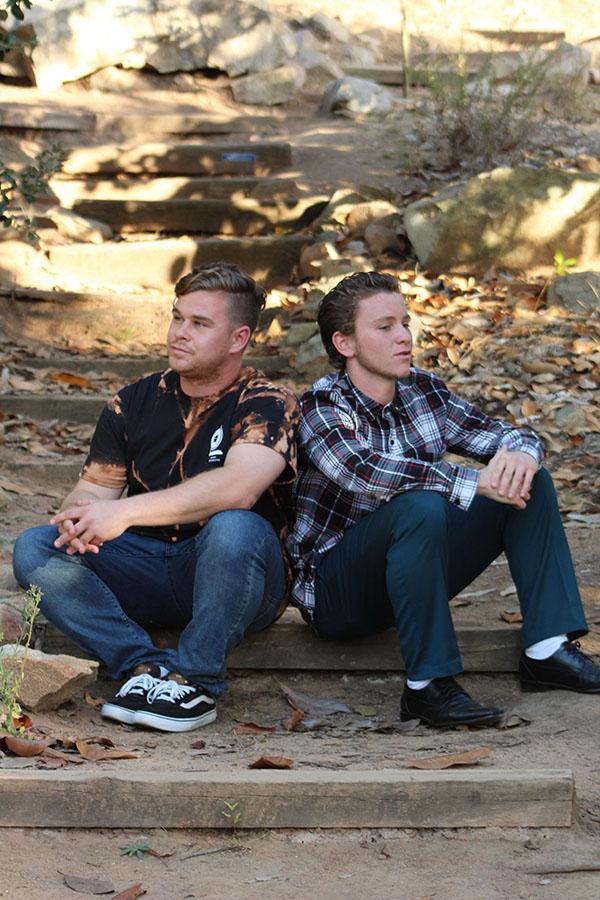 Unify Collective James Mudrak (left) and Jake Webbs(right) at Palomar College arboretum. Allen Burton/ The Telescope