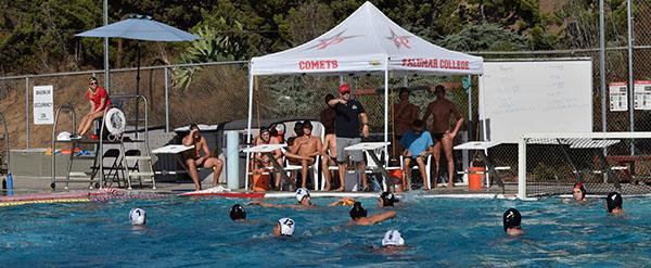 Head Coach Kody Moffatt calls different plays during the game against Miramar Jets. Oct.11 Palomar College Pool. Victoria Bradley/The Telescope
