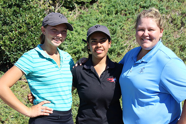 Meet the Palomar Women's Golf team (from left to right) Vendella Lunde, Michelle Delacruz, and Victoria Owings on Sept. 26. Not pictured Abby Corona. Iray Gomez/The Telescope