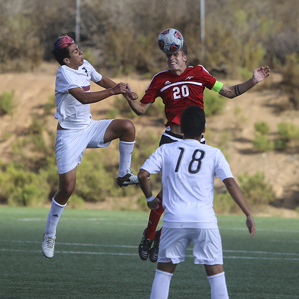 Palomar College men's soccer team captain Aaron Proulx defend the back from the opponents team. Sept 15 at Minkoff Field. The game ends with a score of 1-1. Larie Tobias Chairul/ The Telescope