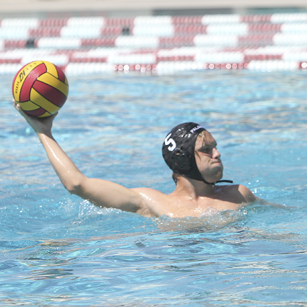 Eric Bullock throwing the ball during drills after the water polo scrimmage against Orange Coast College on Friday Sept. 1, 2017 at Palomar College. Julie Lykins/The Telescope