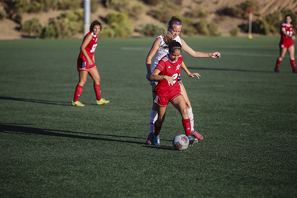 Palomar Women's Samantha Kaye-Toral Controlling the ball during the second half of the game against San Diego Mesa Olympians. Oct 24 at Minkoff Field. Larie Tobias Chairul/The Telescope.