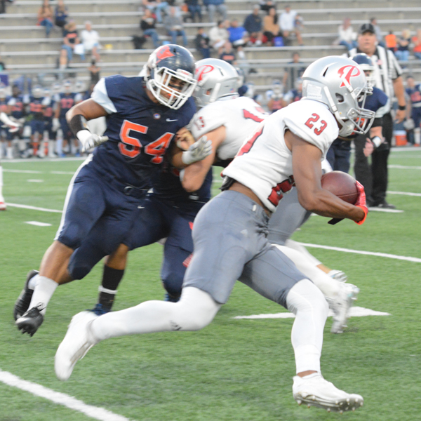 Palomar's Rashad Harper moves the ball down the down the field on Oct. 14 against Orange Coast College. Anabel Malacra/The Telescope
