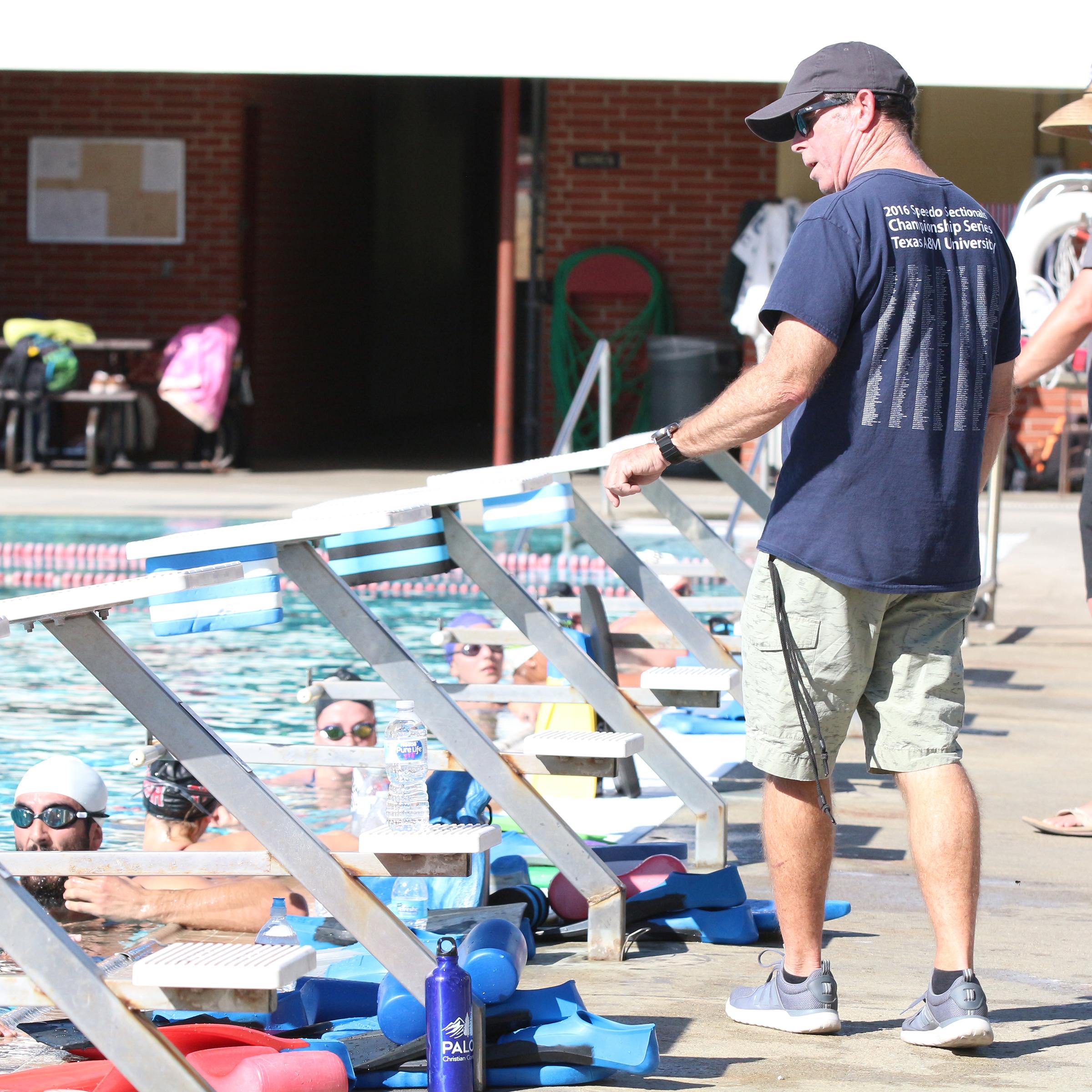 Palomar's swim teams meet for practice with coach Jem McAdams, Feb. 8. Taylor Hardey/The Telescope