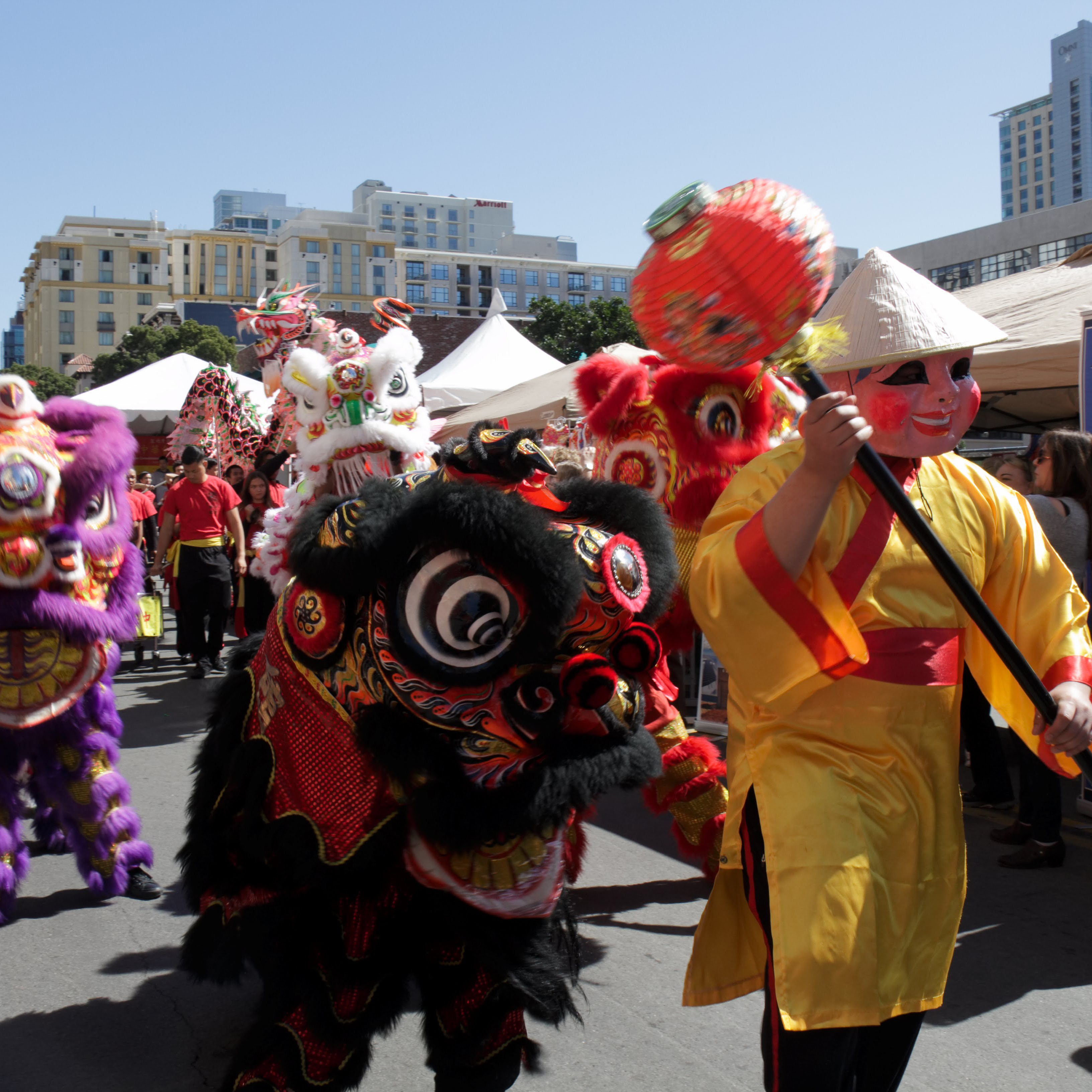 Lucky Lion Dancers parade through downtown San Diego in celebration of the Chinese New Year Fair Feb 24. Jennesh Agagas/ The Telescope