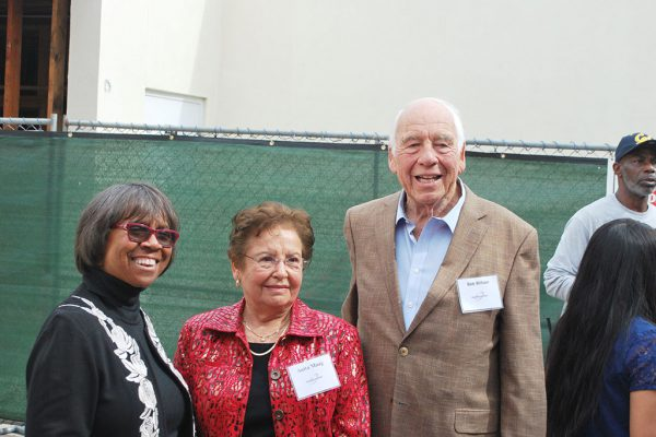 President Joi Lin Blake poses for photo with Anita Maag and Bob Wilson during groundbreaking event for the Anita and Stan Maag Food & Nutrition Center. Linus Smith/The Telscope