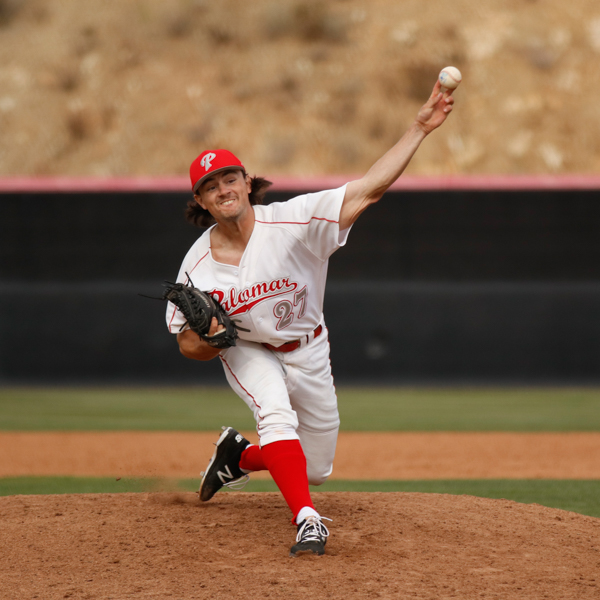 Kyle Strepek pitches to College of the Desert late in a home game on March 8, 2018. Eddie Hoffman / The Telescope
