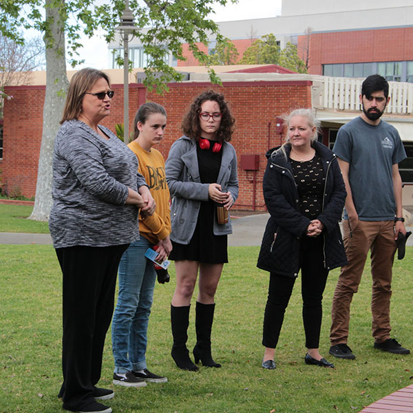 Students and faculty speak during the school walkout at Palomar College. Students nationwide are leaving their classrooms today in protest to gun violence, and to honor those lost by the Florida school shooting. March 14.