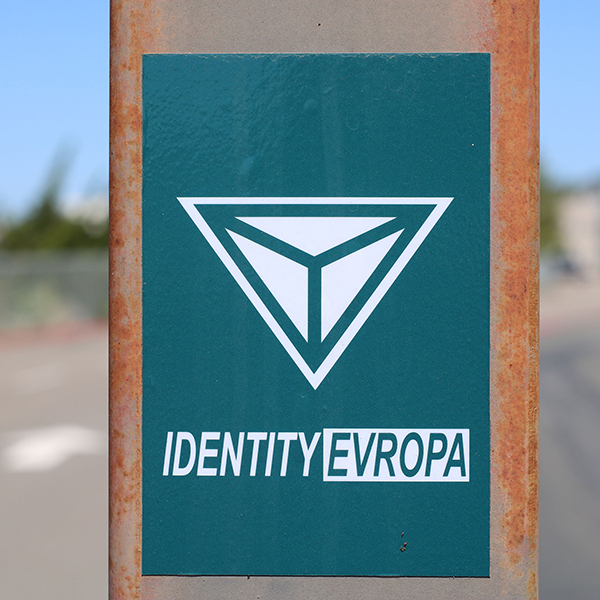White nationalist group Identity Evropa's sticker found in a Palomar parking lot. April 17. Cameron Niven / The Telescope