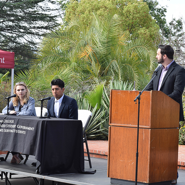 Candidates for President Amber Brancroft and Eduardo Saucedo answer the questions ask of them from ASG President Chris Hopp during the ASG Forum at Palomar College SU-Quad. 4/16/2018. Victoria Bradley