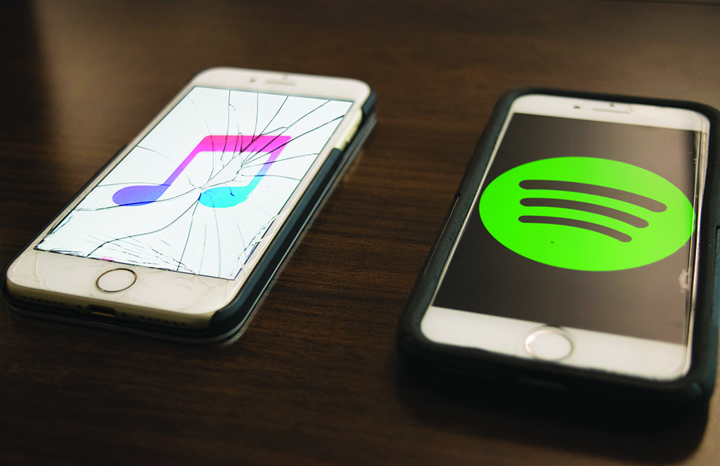 Spotify music versus Apple music. Emily Whetstone/ The Telescope