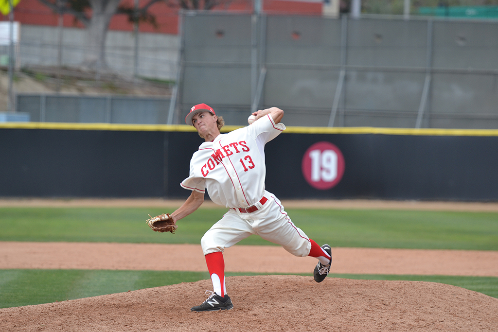 Left handed pitcher Ryan Semon delivers a pitch in Southern California Super Regional loss to Saddleback, May 12, 2018. Krista Moore/ The Telescope