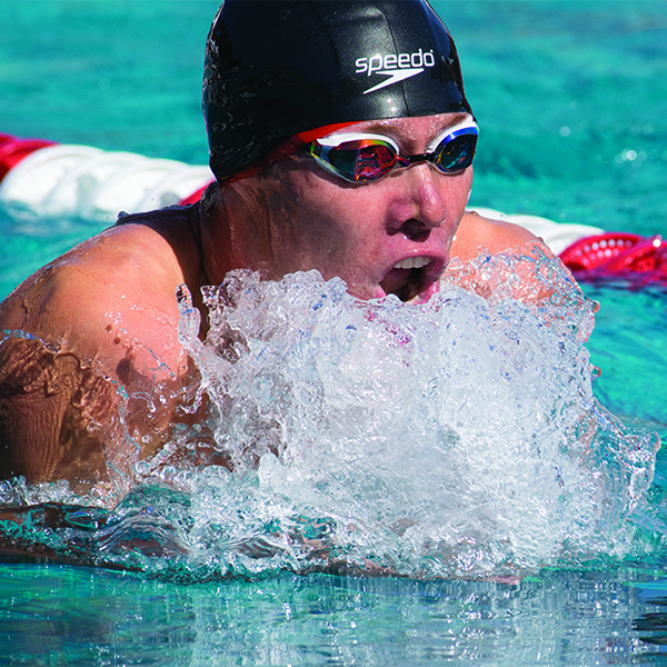 Palomar Comet, Toby Fast, doing the breaststroke in lane 5 for his 400 yard indiviudual medley. He placed 2nd. Emily Whetstone/ The Telescope