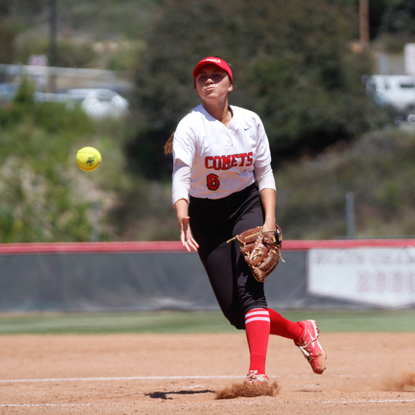 Palomar's Alicia Garcia pitches the ball for Palomar in the top of the 2nd inning against Imperial Valley on Friday, April 20. Amanda Raines/The Telescope