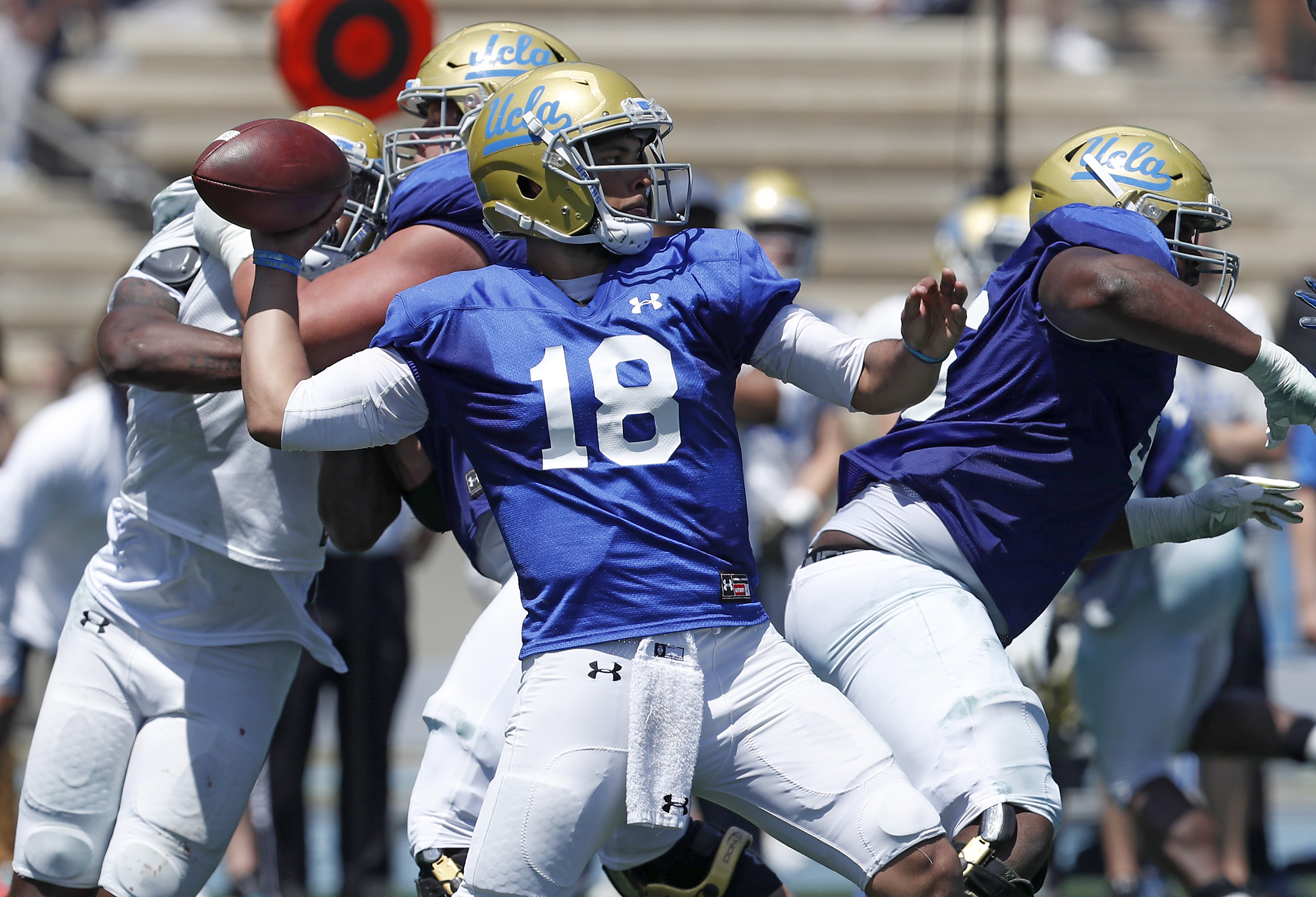UCLA quarterback Devon Modster (18) throws downfield during the Bruins' spring football game at Drake Stadium in Los Angeles on Saturday, April 21, 2018. (Luis Sinco/Los Angeles Times/TNS)