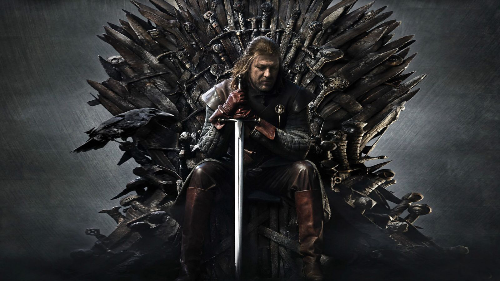 Eddard Stark sitting on the Iron Throne