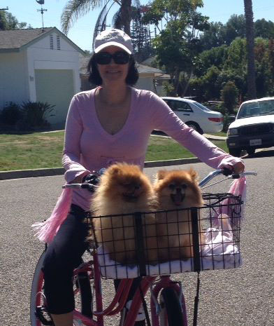 April woods biking with her two dogs
