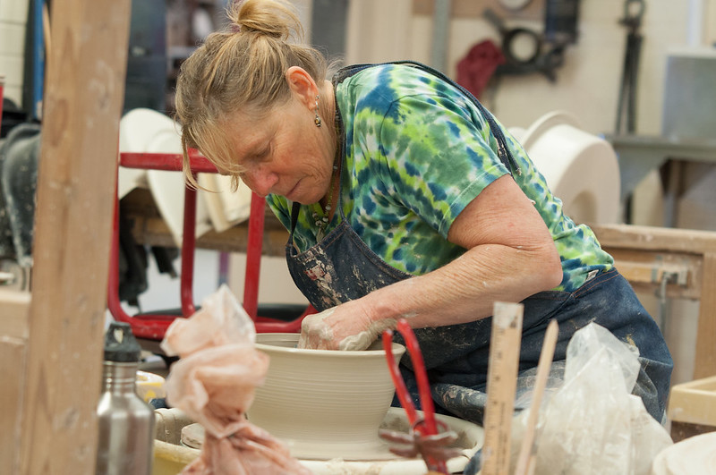 woman making ceramics at palomar college