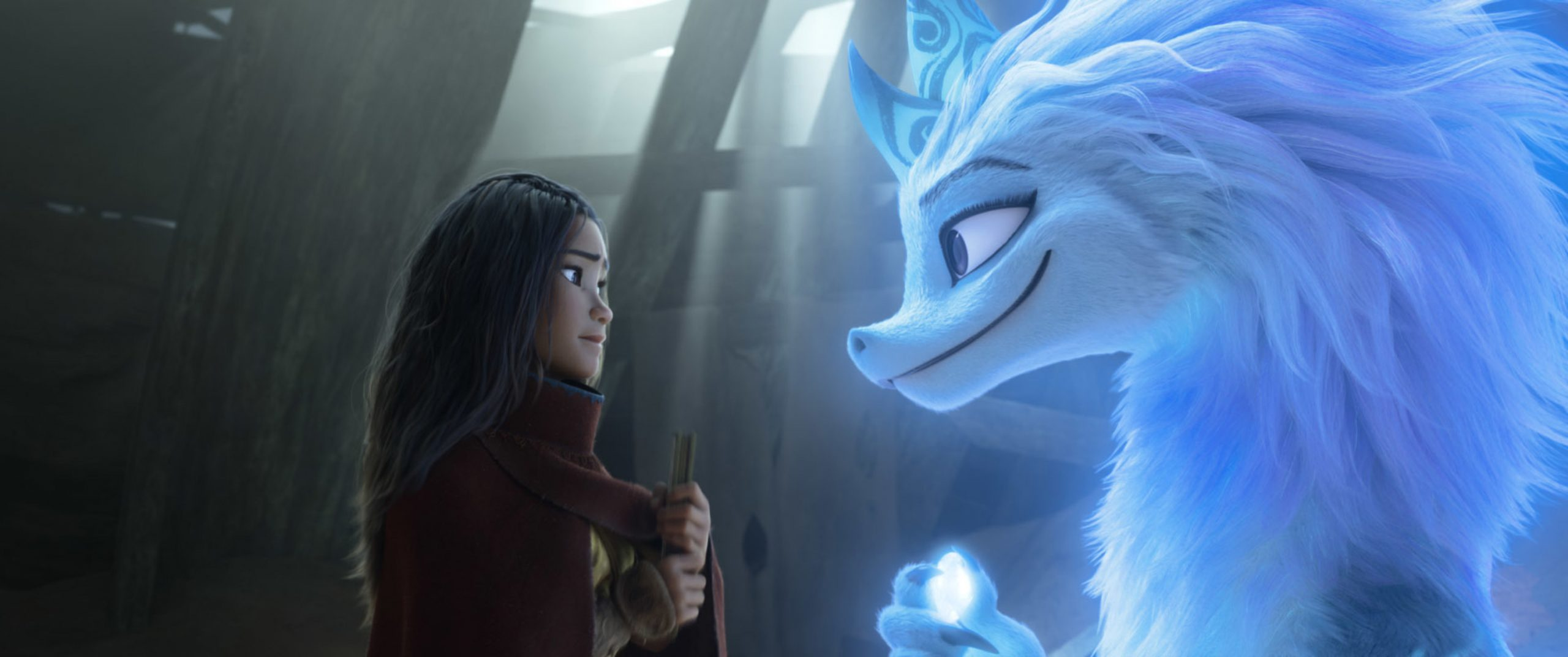 "Image from Raya and the dragon from Disney's new film, ""Raya and the Last Dragon."""