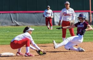 Samarah Martinez (on the left) about to make the play at second base to get the runner out. Photo provided by Samarah Martinez.